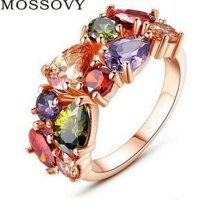 Rose gold rainbow cubic zirconia ring.